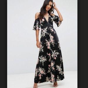 ASOS Cold Shoulder Maxi Dress in Satin Floral